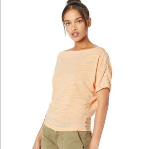 "Free People ""Astrid"" Off-The-Shoulder Tee Apricot"